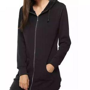 Danskin long sporty black hooded jacket